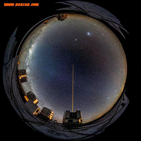 تصویر چشم ماهی از آسمان صاف بالای رصدخانه پارانال.